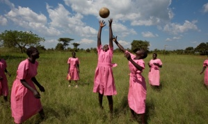 Katine Project, Girls play netball at Katine primary school.   Photo by Dan Chung